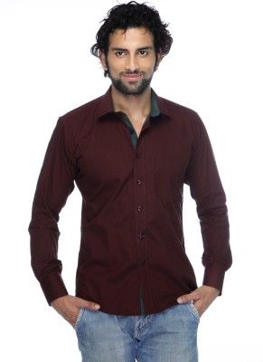Zeal Mens Solid Casual Maroon, Dark Green Shirt