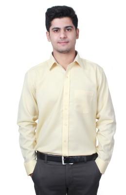 Frissk Men's Solid Formal Yellow Shirt
