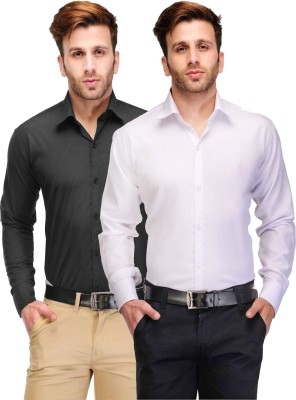 Being Fab Men's Solid Casual White, Black Shirt