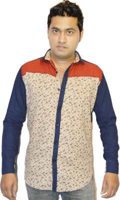 Jack Royal Men's Printed Casual Red, Beige Shirt