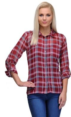 Curvy Q Women's Checkered Casual Red Shirt