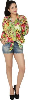 Chic Fashion Women's Floral Print Formal Green, Pink Shirt