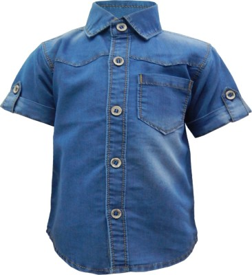Kooka Kids Baby Boy's Solid Casual Denim Blue Shirt