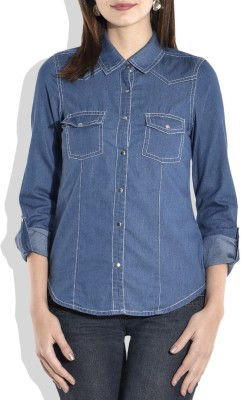 Zeupic Women's Solid Casual Denim Blue Shirt