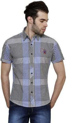 True Tittos Men's Checkered Casual Light Blue, White, Black Shirt