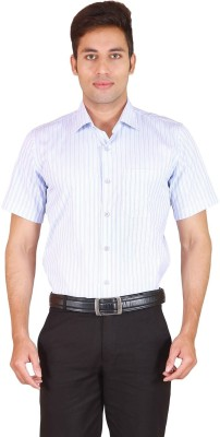 Willmohr Men's Striped Casual Blue Shirt