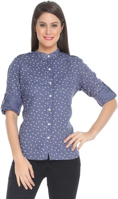 The Cotton Company Women,s Floral Print Casual, Party, Formal Blue Shirt