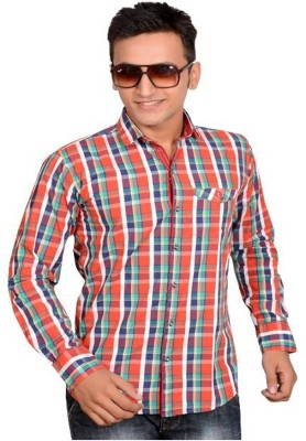 Anry Men's Solid Casual Red Shirt