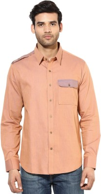 I Know Men's Solid Casual Orange Shirt