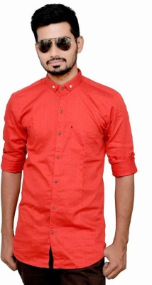 MIKS STUDIO Men's Printed Wedding, Casual, Party Red Shirt