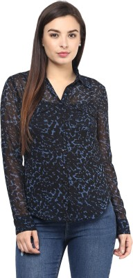 Rockland Life Women's Printed Casual Black, Blue Shirt