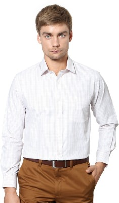 University of Oxford Men's Checkered Formal White Shirt
