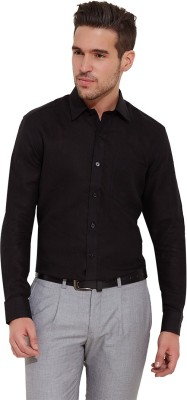 Urban Nomad By INMARK Men's Solid Formal Linen Black Shirt