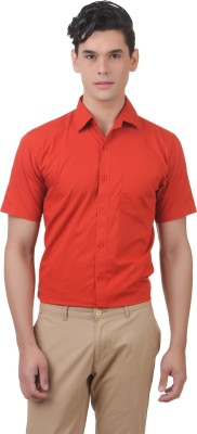You Forever Men's Solid Casual Orange Shirt