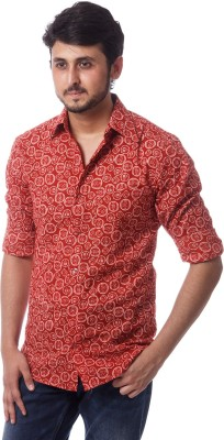 ERBE Men,s Printed Casual Red Shirt