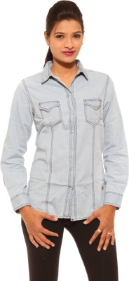 Pepe Jeans Women's Solid Casual Blue Shirt