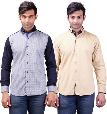 Clubstone Men's Printed, Self Design Formal Blue, Beige Shirt