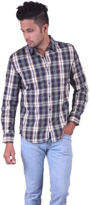Jansons Men's Checkered Casual Dark Blue Shirt