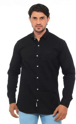 Mabho Men's Solid Casual Black Shirt