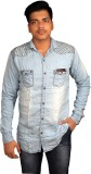 Zedx Men's Solid Formal Light Blue Shirt