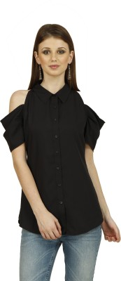 Raaziba Women's Solid Casual Black Shirt