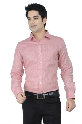Alpha Centauri Men's Solid Formal Pink Shirt