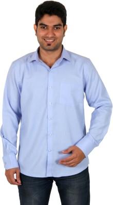 Green Apple Men's Solid Formal Blue Shirt