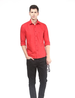 Remo Men's Solid Casual Red Shirt