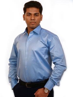 Iconic Men's Self Design Formal Dark Blue Shirt