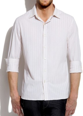 Roar and Growl Men,s Striped Casual Beige, White Shirt