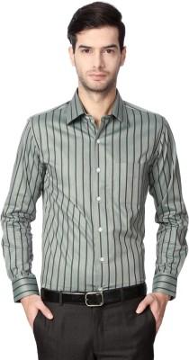 Peter England Men's Striped Casual Grey Shirt