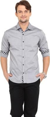 Western Vivid Men's Solid Casual Grey Shirt