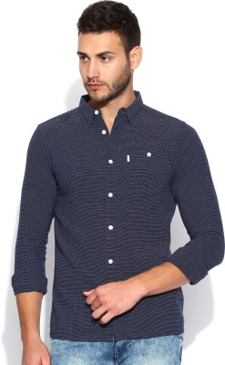 883 Police Men's Solid Casual Dark Blue Shirt