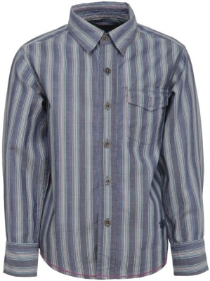 Bells and Whistles Boy's Striped Casual Grey Shirt