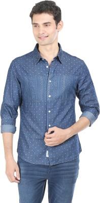 Flippd Men's Printed Casual Blue Shirt