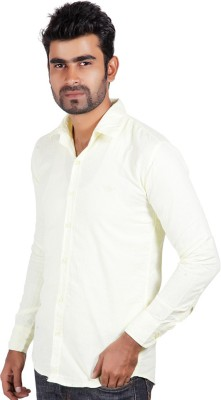 Alley Brothers Men's Solid Casual Linen Yellow Shirt