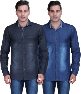 Alamurit Men's Solid Casual Denim Blue Shirt