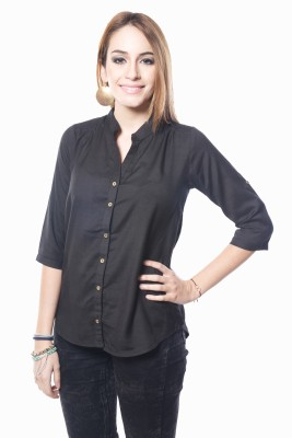 Westhreads Women's Solid Casual Black Shirt