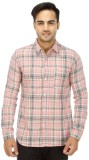 Wineberry Men's Checkered Casual Pink Sh...