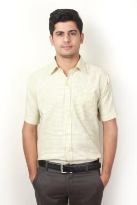 Frissk Men's Checkered Formal Yellow Shirt