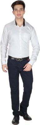Shaurya-F Men's Printed Formal White Shirt