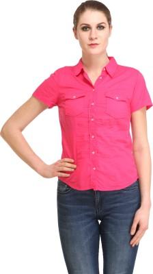 Amirich Women's Self Design Casual Red Shirt