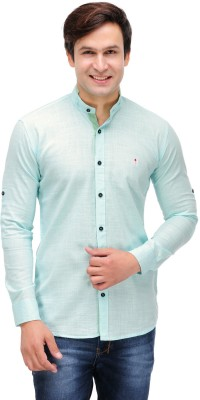 Nexq Men's Solid Casual Linen Light Blue Shirt