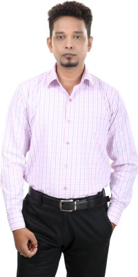 Bellavita Men,s Checkered Formal Pink Shirt