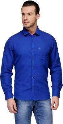 Canary London Men's Solid Casual Linen Dark Blue Shirt