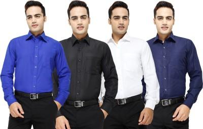 Yuva Men's Solid Formal Blue, Black, White, Dark Blue Shirt