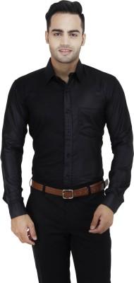 LEAF Men's Solid Formal Black Shirt