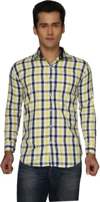 2 Dudes Men's Checkered Casual Yellow Shirt
