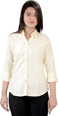 Jazzy Ben Women,s Solid Formal Yellow Shirt