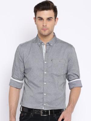 Harvard Men's Self Design Casual Grey Shirt